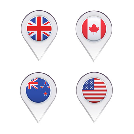 Flags inside pointers over white background. Vector design. Vector