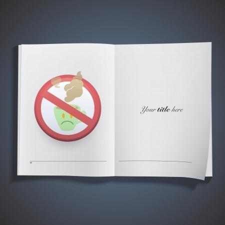 verboden teken met koffiekop gedrukt op boek Vector ontwerp