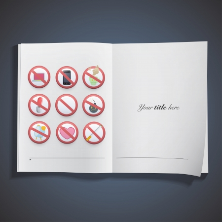 Set of prohibited signs printed on book  Vector design Stock Vector - 24119735