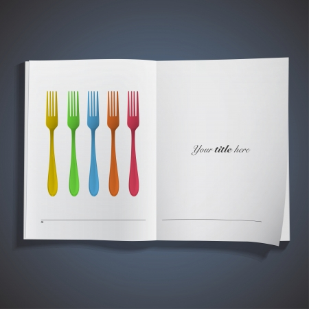 Forks printed on book  Vector design  Vector