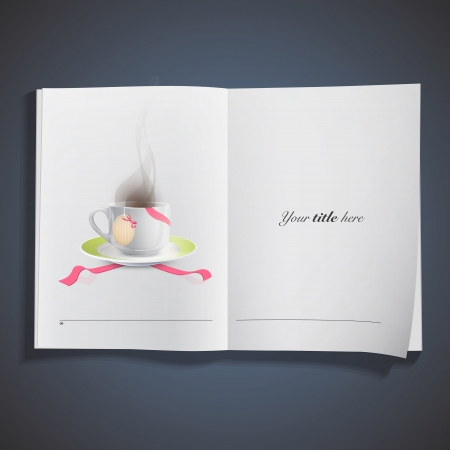 teabag: White cup with tea-bag with red ribbons printed on book  Vector design