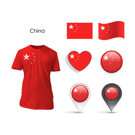 realist: Set of China design over white background