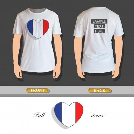 camicia bianca: Cuore Nazionale stampato su camicia bianca. Disegno vettoriale.