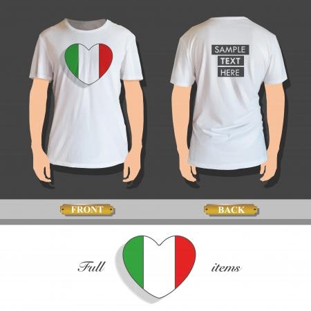 camicia bianca: Cuore Nazionale stampato sulla camicia bianca. Disegno vettoriale.