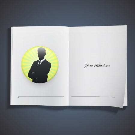 Silhouette of businessman printed on book. Vector design  Vector
