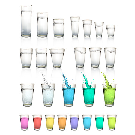 rinfreschi: Set di bicchieri d'acqua realistiche. Disegno vettoriale