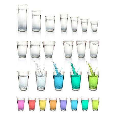 minerals: Set of realistic water glasses. Vector design