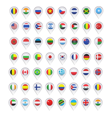 Flags inside pointers over white background. Vector design.