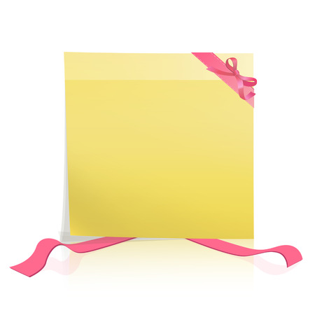 Yellow paper with red ribbons. Vector design  Vector