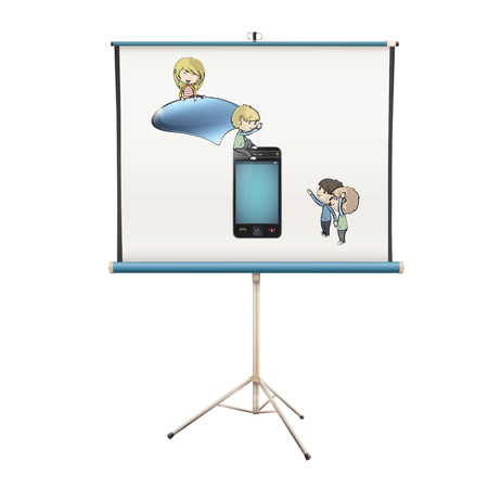 Kids around phone projected on white screen. isolated vector design. Stock Vector - 24377884