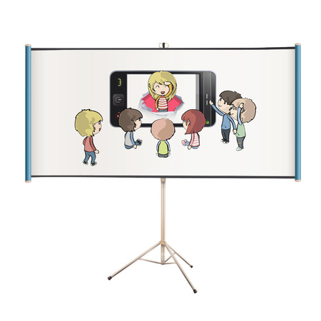 Kids around phone projected on white screen. isolated vector design.  Vector
