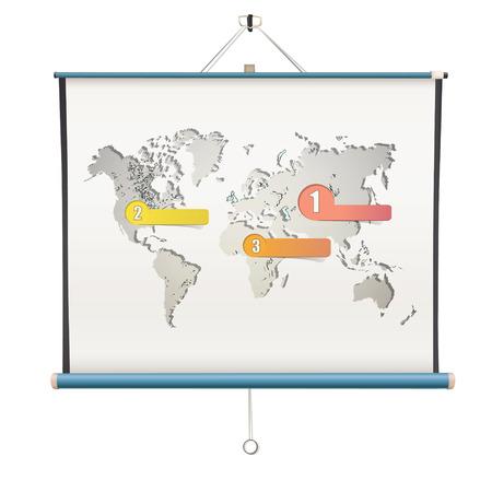 projector screen: Schermo di proiezione bianco con mappa del mondo interno. disegno vettoriale isolato.