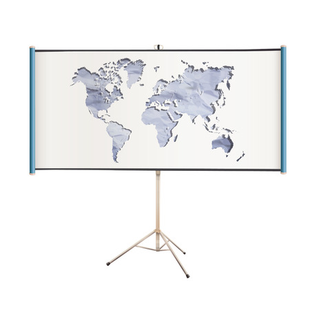 White projector screen with world map inside. isolated vector design.  Vector