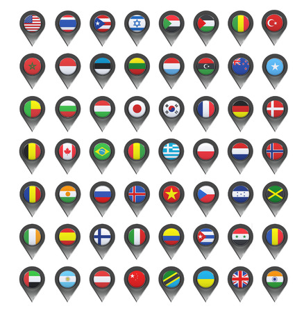 banderas del mundo: Banderas dentro punteros sobre fondo blanco. Diseño vectorial. Vectores