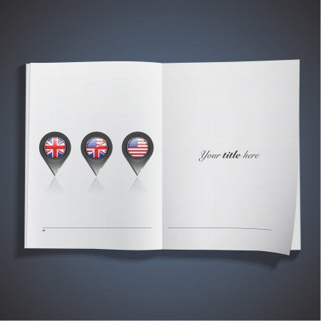book mark: Set of English icons printed on book. Vector design