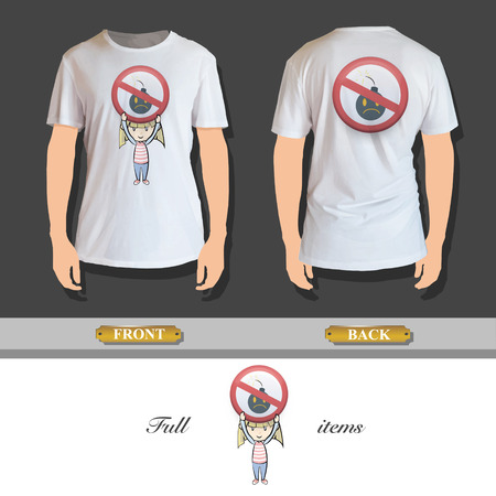 Kid holding prohibited sign printed on shirt  Vector design Stock Vector - 24377958