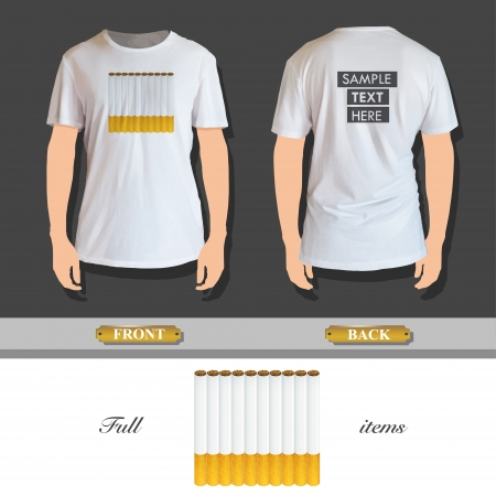 tobacco product: Group of cigarettes printed on shirt  Vector design  Illustration