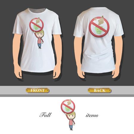 Kid bedrijf verboden teken gedrukt op overhemd Vector ontwerp