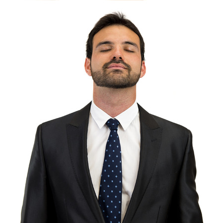 satisfaction business man isolated over white background photo