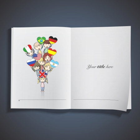 Kids holding flags printed on book Vector