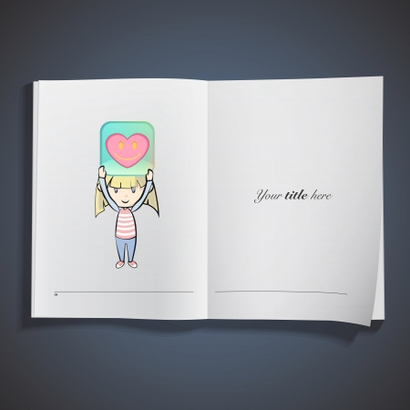 Kid holding a badge printed on book Vector