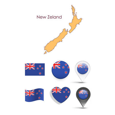 Set of New zealand elements  Vector design  Vector