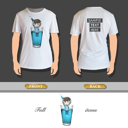 Kid into a water glass printed on shirt Vector
