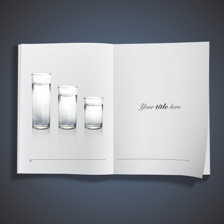 Set of realistic water glasses printed on book Stock Vector - 25035472