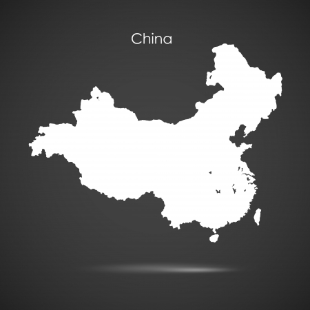 map of china: Silhouette of China over grey background Illustration