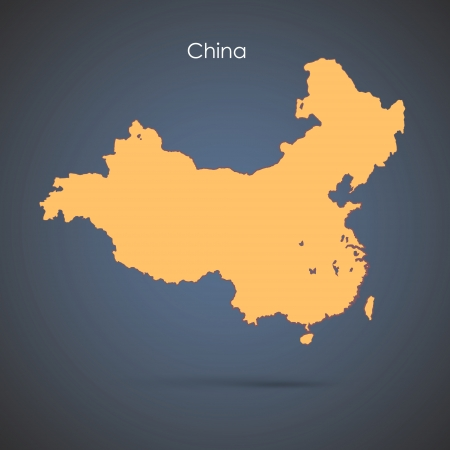 map of china: Silhouette country over blue background  Vector design