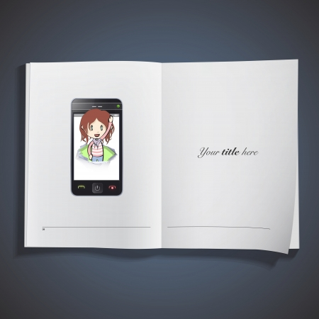 Girl inside hole on phone printed over white book.  Vector