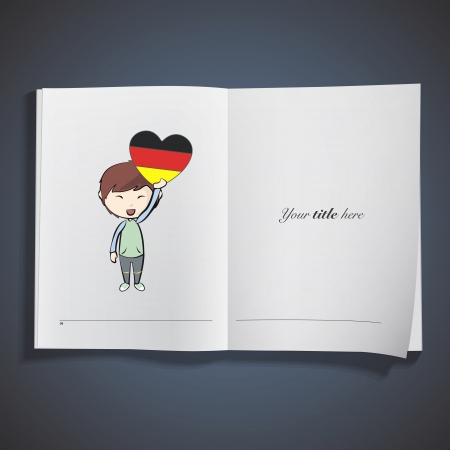 Kid holding a heart flag printed over white book. Vector design. Stock Vector - 25284704