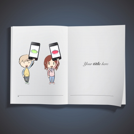 Kids holding Phones with colorful holes printed over white book. Vector design. Stock Vector - 25284703