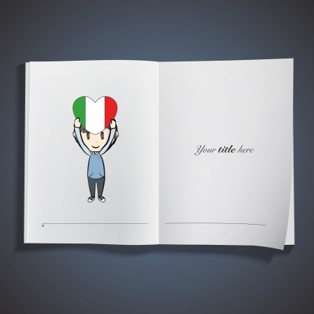 Kid holding Italy heart printed on book. Vector design. Vector