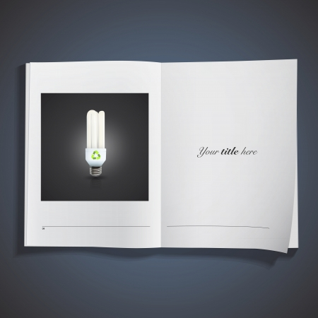Realistic lightbulb printed over white book. Vector design. Stock Vector - 25284732