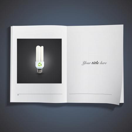 Realistic lightbulb printed over white book. Vector design. Stock Vector - 25284732