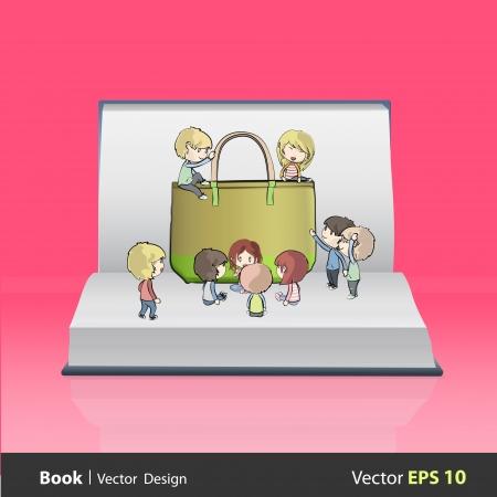 Kids around green bag on empty book  Vector design  Vector