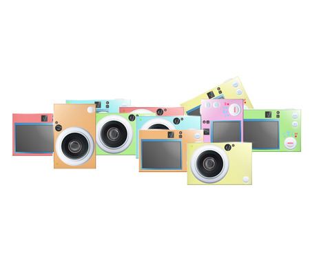 Collection of colorful cameras  Vector design   Illustration