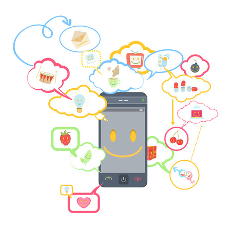 Phone with icons inside speech bubble  Vector design   Vector