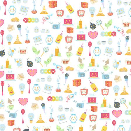 explosive watch: Pattern of cute icons over white background  Vector design