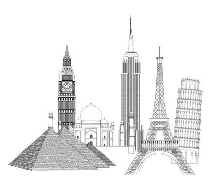 Several monuments over white background  Vector design Illustration