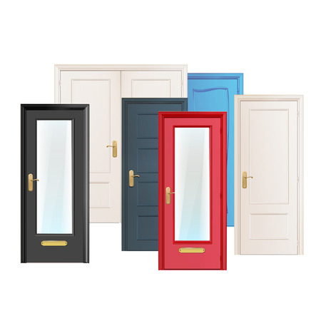 Collection doors isolated on white  Vector design   Ilustracja