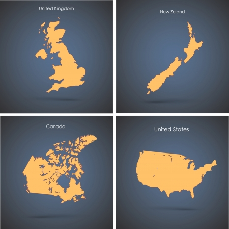 Set of silhouette countries over blue background  Vector design  Vector