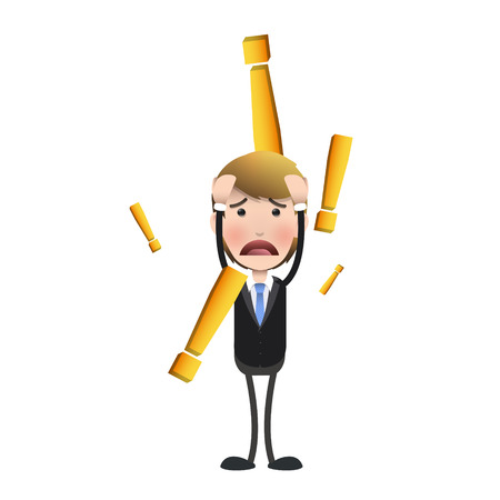 unsatisfied: Sad businessman over white background. Vector design