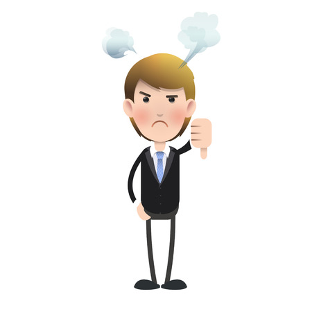 Unhappy businessman with his thumb down over isolated background  Vector design