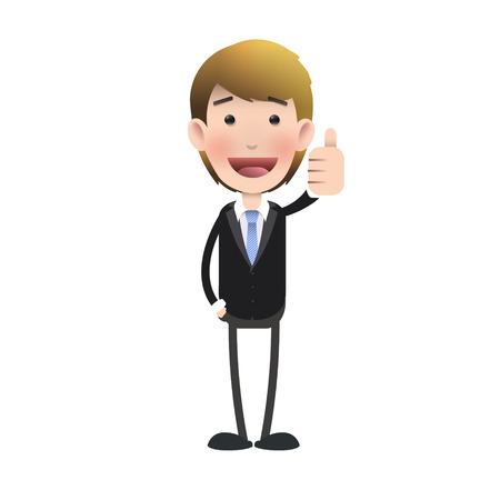 Happy businessman with his thumb up over isolated background  Vector design   Vector