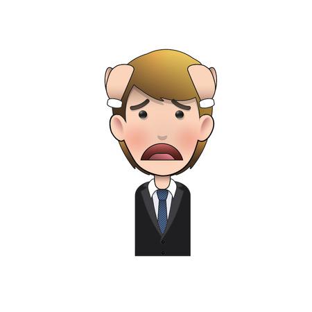 empresario triste: Hombre de negocios triste sobre el fondo blanco de dise�o vectorial