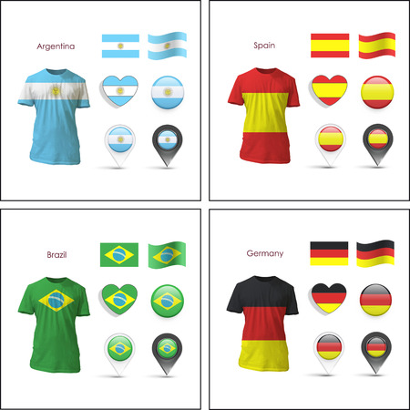 realist: Set of flag designs over white background.