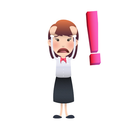 Sad woman over white background. Vector design  Ilustração