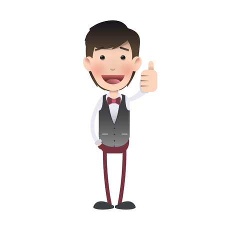 waistcoat: Happy man with his thumb up over isolated background. Vector design.